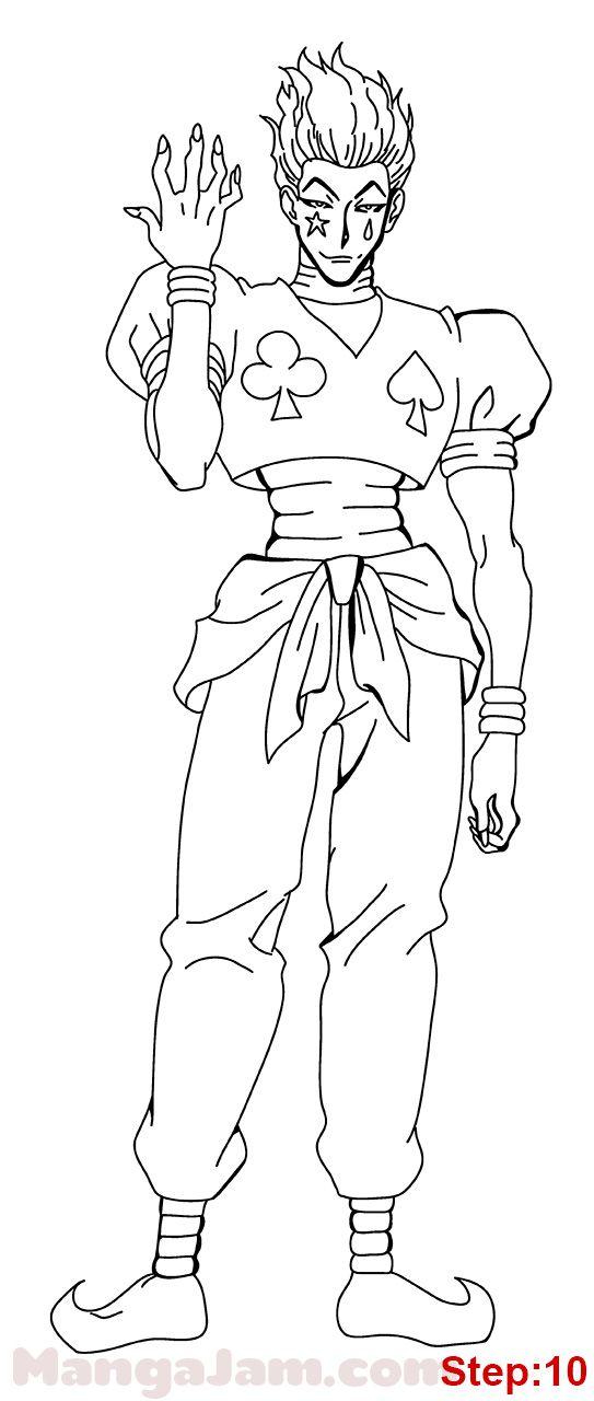 How To Draw Hisoka From Hunter X Hunter Mangajam Com In 2020 Anime Lineart Anime Drawings Sketches Hunter Anime