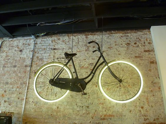 Neon sign made from a vintage bike at Houndstooth Road in Decatur, GA.: