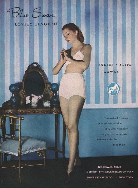 Blue Swan Lingerie Undies Bra Panties 1947 Magazine Print