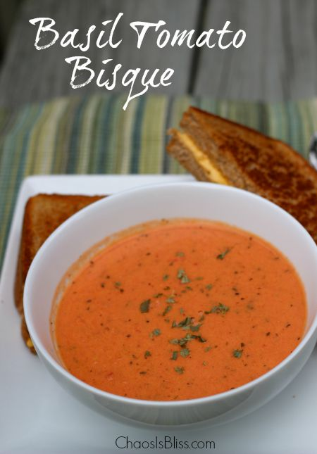 I love a warm bowl of soup on crisp Fall days!  This easy Basil Tomato Bisque recipe uses ingredients you likely have on hand already.