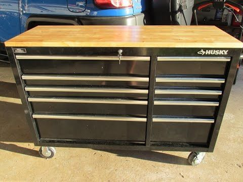 Husky 52 in. 10-Drawer Mobile Workbench with Solid Wood Top Review - YouTube