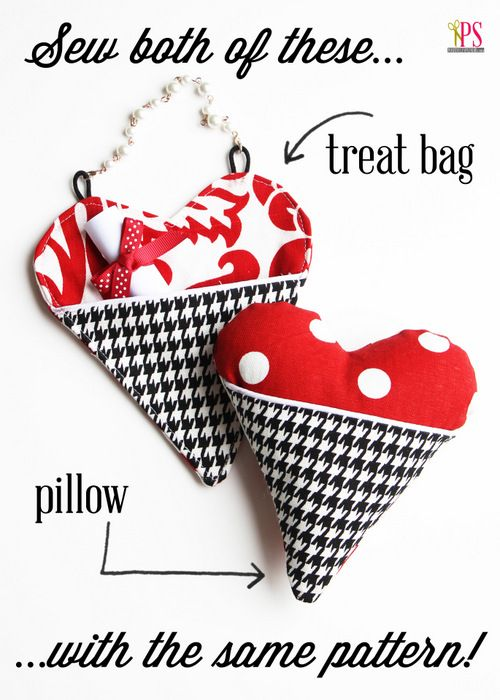 Pocket Heart Pillow and Treat Bag Sewing Tutorial - Two Projects, One Pattern! #yearofcelebrations: Sewing Pattern, Valentine, Pillow Treat