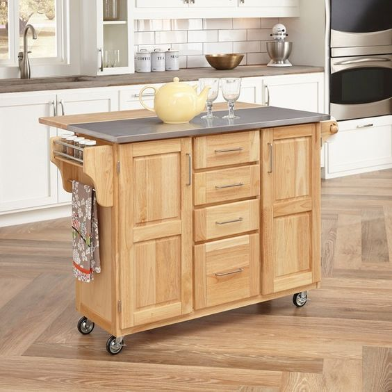 Home Styles Natural Breakfast Bar Kitchen Cart   Overstock.com Shopping - The…