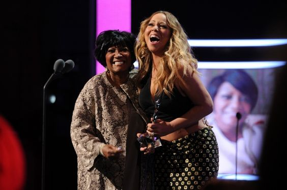 Living Legend award recipient Patti LaBelle shares her excitement onstage with fellow soulful diva Mariah Carey at BET's Black Girls Rock! event on Oct. 26 in Newark, N.J.