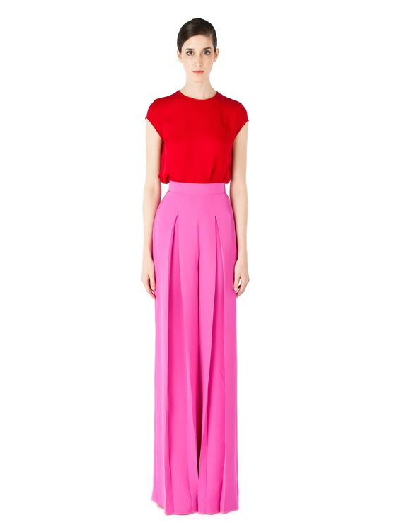 Nha Khanh spring 2012 RTW red silk cap sleeve top and pink silk wide leg pants
