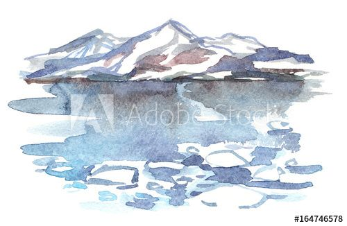 Northern Sea Landscape With Snowy Hills Glaciers And Cold Icy