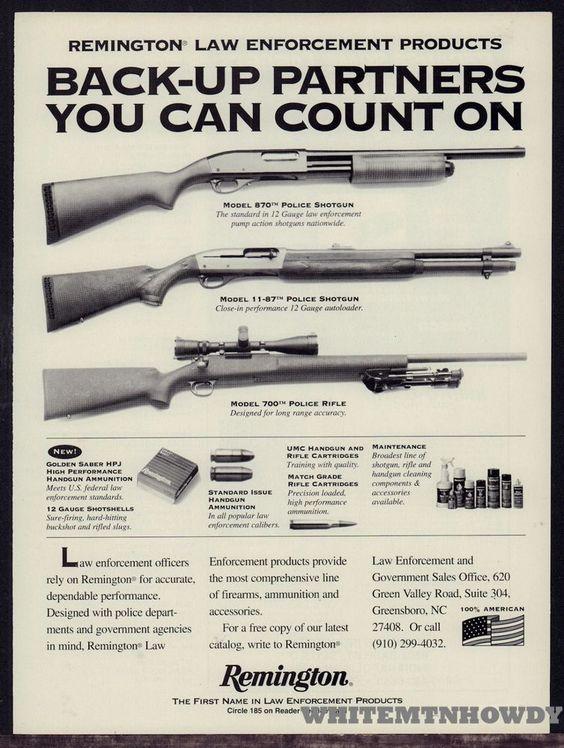 1995 REMINGTON Model 870, 11-87 Police Shotgun  700 Rifle AD #Remington