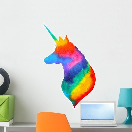 Unicorn Head Watercolor Rainbow Wall Decal Rainbow Wall Decal