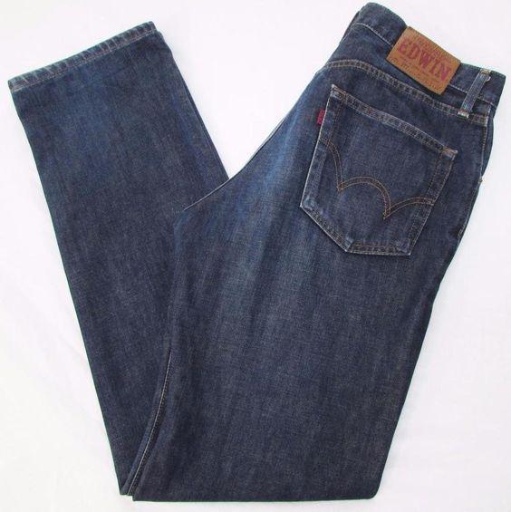 Men Edwin 503 Regular Jeans Slim Straight Dark Wash 100% Cotton sz