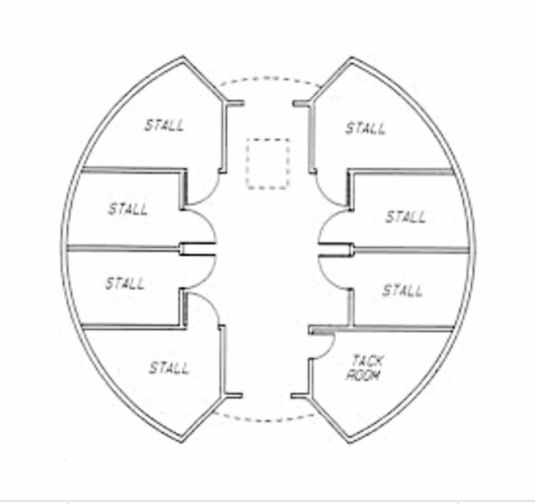 Round horse barn floor plan barns pinterest floor for Horse barn layouts floor plans