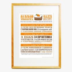 Free printable poster, recipe wall art for your kitchen. Bonus: I tried this recipe and it is so far the best carrot cake I've tasted.