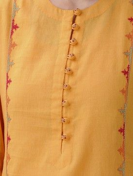 Mustard Hand-Embroidered Cotton Mul Kurta with Slip (Set of 2)