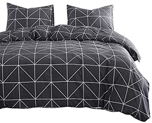 Amazon Com Wake In Cloud Dark Gray Comforter Set 100 Cotton Fabric With Soft Microfiber Fill In 2021 Dark Grey Duvet Covers Striped Duvet Covers Gray Duvet Cover