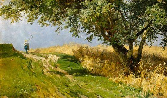 """""""Am Getreidefeld"""" von Johann Friedrich Voltz (geboren am 31. Oktober 1817 in Nördlingen, gestorben am 25. Juni 1886 in München), deutscher Tiermaler und Landschaftsmaler der Münchner Schule."""