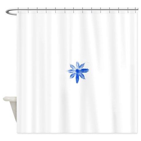 Blue metallic flower Shower Curtain on CafePress.com