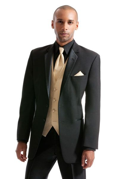Black and gold tux for wedding | After Six Troy Black Prom Tuxedo...that guy is pretty sexy too ...
