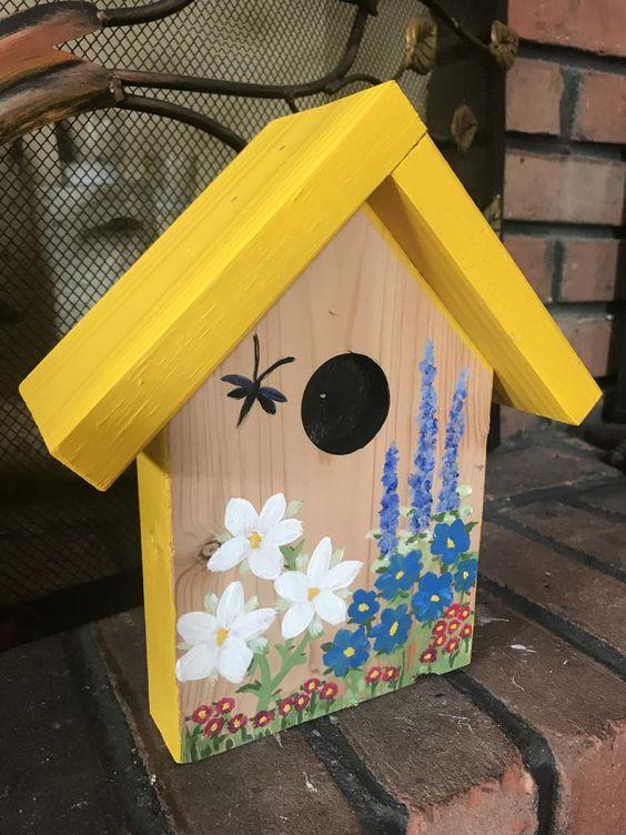 Garden Stake Birdhouse Etsy In 2020 Decorative Bird Houses Bird Houses Ideas Diy Bird Houses Painted