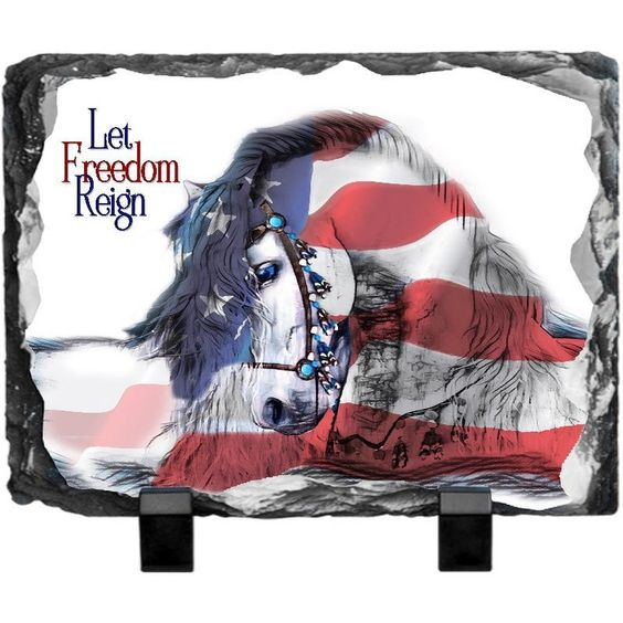 Let Freedom Reign Horse Slate Etsy Reign Let It Be Flag Photo