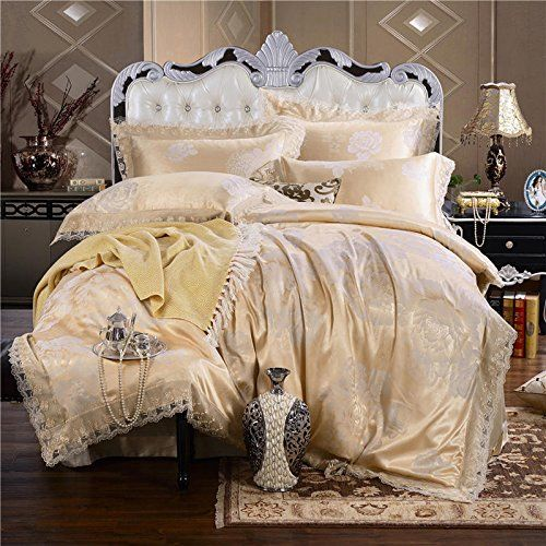 L13 Luxury Jacquard Damask Silk Bedding Sets Lace Edge Duvet