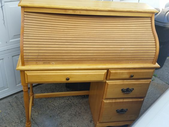 Roll Top Desk Found In The Trash Tambour Was Sagged