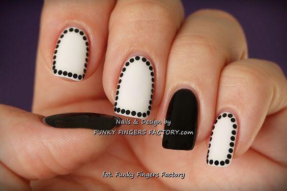 Uñas elegantes blanco y negro, diseño de uñas cortas , Elegant black and white nails