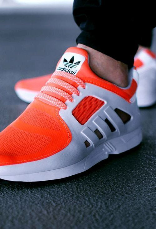 Adidas Sneakers with a pop of orange. | Sneakers fashion