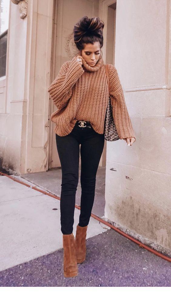 Nice Brown Sweater And Boots Casual Winter Outfits Winter Outfits Women Best Casual Outfits