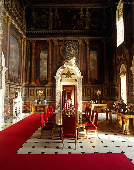 Fantastic floor for a dining room and love the red. Blenheim Palace.: