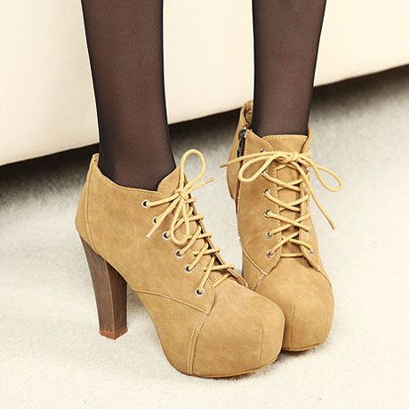 Cork Heel Lace Up Ankle Boots