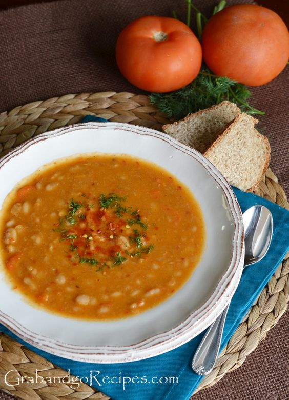 SLOW COOKER WHITE BEAN SOUP 1 onion- 1 carrot- 1 tomato- 1 pound dried white beans- 8 c water- 2 bay leaves- 1 tsp. cumin powder- 1 tsp. paprika- 1 Tbsp. tomato paste- 2-3 Tbsp. olive oil- 2 garlic- Salt and pepper- parsley/dill-