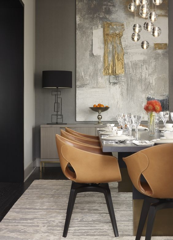 Dining Room - Love the chairs, Nota Bene table, large piece of art, chandelier of globes all set in a mode of uber modern.: