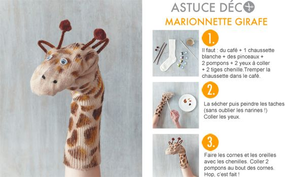 astuce d co marionnette girafe activit s pour les enfants pinterest d co et bricolage. Black Bedroom Furniture Sets. Home Design Ideas