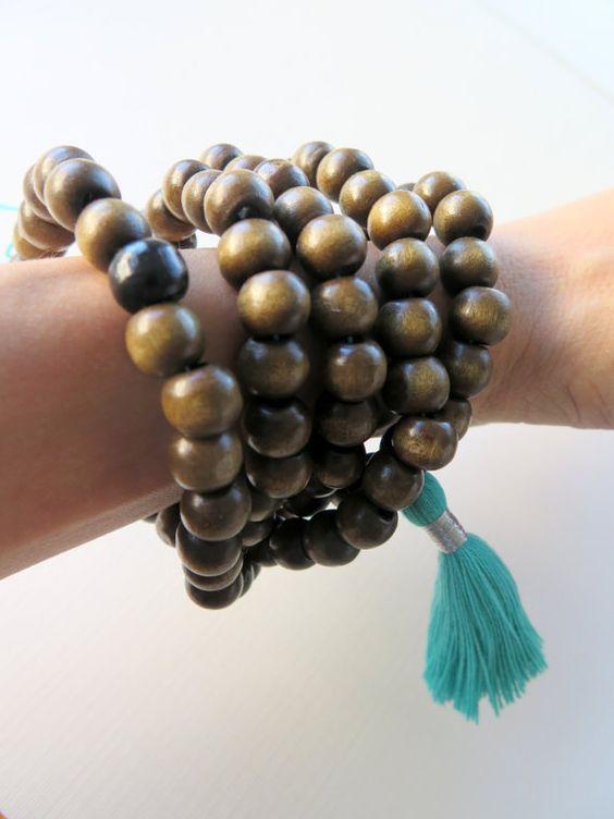 Turquoise Tassel Mala Necklace  Wood Bead Yoga by ZardeniaJewelry