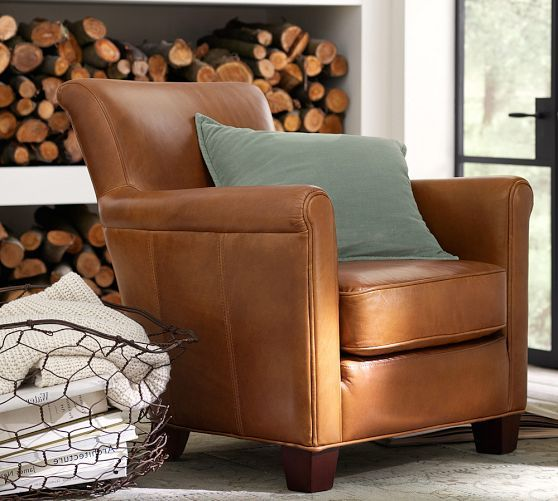 Irving Leather Armchair Pottery Barn Living Room Chair