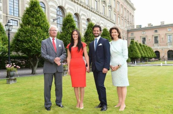 MYROYALSHOLLYWOOD FASHÄ°ON:  Engagement of Prince Carl Philip and Sofia Helqvist, June 27, 2014.  The couple have received consent from the King and the government to marry.  King Carl Gustaf, Sofia Helqvist, Prince Carl Philip, Queen Silvia.