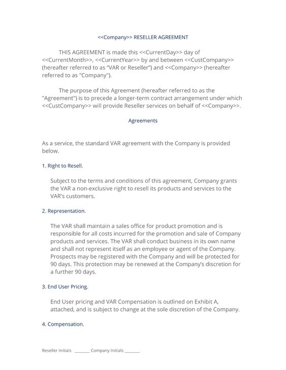 Sample Reseller Agreement Template Usedcarbillofsaleform Jpg