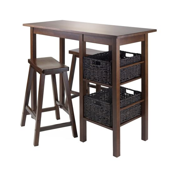 """Egan 5pc Table with 2 - 24"""" Saddle Seat Stools and 2 Baskets"""