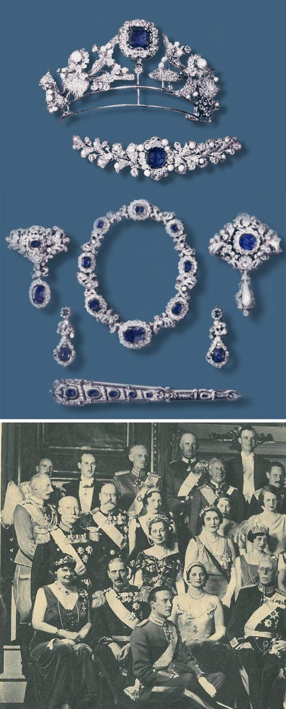 Prussian sapphire and diamond parure, set with sapphires, diamonds and pearls, is comprised a necklace, earrings, two brooches, a fan, a bracelet and a tiara. Prussian sapphire and diamond tiara centered in a large sapphire was worn by Crown Princess Cecilie of Prussia (1886-1954) at the wedding of the Crown Prince of Denmark and Princess Ingrid of Sweden in 1935. Via http://tiarasandtrianon.com.