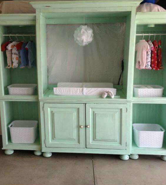 Transform an old entertainment system into baby changing station and storage setup.   LystHouse is the simple way to buy or sell your home. Visit  http://www.LystHouse.com to maximize your ROI on your home sale.