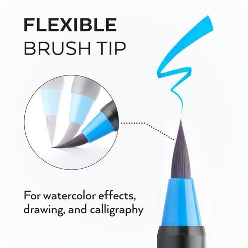 48 Colours for Watercolour Painting with Flexible... ARTEZA Real Brush Pens