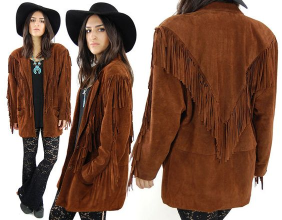 Vintage 70s HIPPIE Dark Brown Fringe Suede Leather Jacket Shoulder