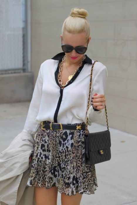 white collared shirt and leopard skirt!!!   The Peak of Tres Chic