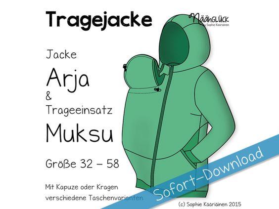 eBook Tragejacke Arja & Muksu - Größe 32 - 58  von Näähglück - by Sophie Kääriäinen auf DaWanda.com