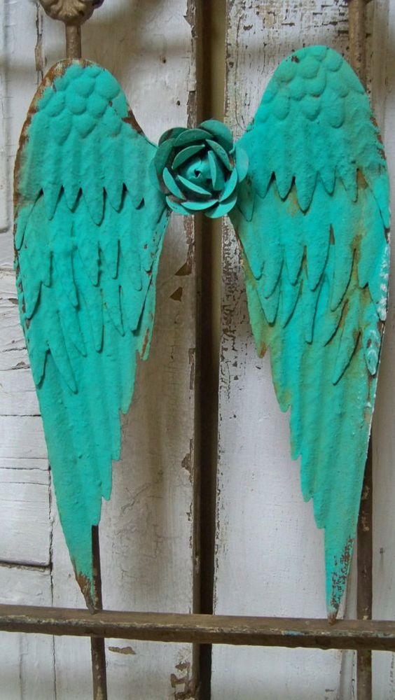 Angel wings metal wall sculpture sea foam aqua by AnitaSperoDesign, $120.00