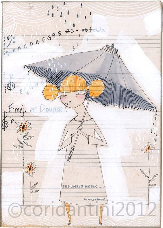 folk painting of girl with umbrella - 5 x 7 - limited edition archival print of an original watercolor by cori dantini