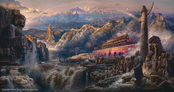 """CAO YONG """"Voice of the East"""" LIMITED EDITION H/E CANVAS 28"""" by 52"""""""