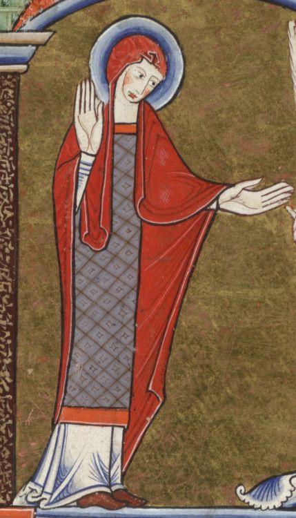 12th century (ca.1170s) England   Glasgow University Library MS Hunter 229 (U.3.2.): Hunterian psalter fol. 17v - detail of Mary http://special.lib.gla.ac.uk/exhibns/psalter/psalterindex.html