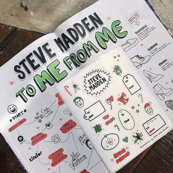 Just saw my illustrations for the holiday issue of @stevemadden magazine! #stevemadden #sophiachang by esymai
