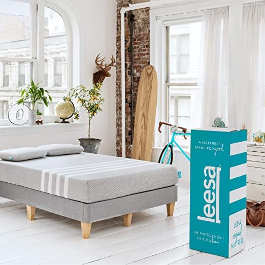 Leesa Original Bed In A Box Three Premium Foam Layers Mattress Queen Gray Amp White Leesa Mattress Layered Mattress Best Mattress