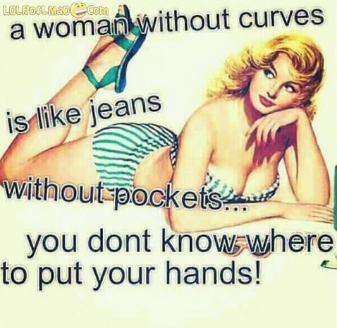 """a woman without curves is like jeans without pockets you dont know where to put your hands"" Now if only a real man would recognize that! LOL"